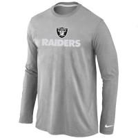 Nike Oakland Raiders Authentic Logo Long Sleeve T-Shirt Grey