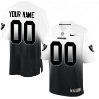 Nike Oakland Raiders Customized BlackWhite Men's Stitched Elite Fadeaway Fashion NFL Jersey