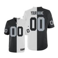 Nike Oakland Raiders Customized WhiteBlack Men's Stitched Elite Split Jersey