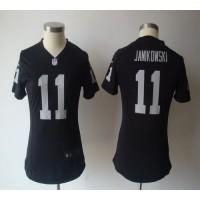 Nike Raiders #11 Sebastian Janikowski Black Team Color Women's NFL Game Jersey