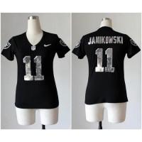 Nike Raiders #11 Sebastian Janikowski Black Team Color Women's Stitched NFL Elite Handwork Sequin Lettering Jersey