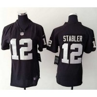 Nike Raiders #12 Kenny Stabler Black Team Color Women's Stitched NFL Elite Jersey