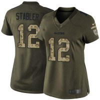 Nike Raiders #12 Kenny Stabler Green Women's Stitched NFL Limited Salute to Service Jersey