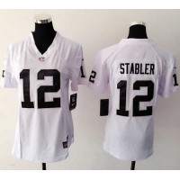 Nike Raiders #12 Kenny Stabler White Women's Stitched NFL Elite Jersey
