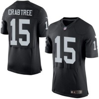 Nike Raiders #15 Michael Crabtree Black Team Color Men's Stitched NFL New Elite Jersey
