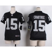 Nike Raiders #15 Michael Crabtree Black Team Color Women's Stitched NFL Elite Jersey