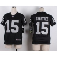 Nike Raiders #15 Michael Crabtree Black Team Color Youth Stitched NFL Elite Jersey