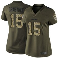Nike Raiders #15 Michael Crabtree Green Women's Stitched NFL Limited Salute to Service Jersey