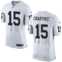 Nike Raiders #15 Michael Crabtree White Men's Stitched NFL New Elite Jersey