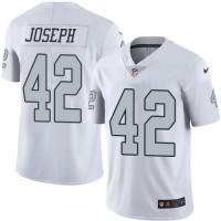 Youth Nike Oakland Raiders #42 Karl Joseph White Stitched NFL Limited Rush Jersey