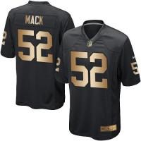 Youth Nike Oakland Raiders #52 Khalil Mack Black Team Color Stitched NFL Elite Gold Jersey