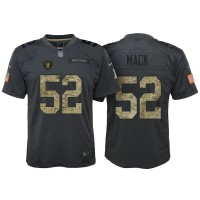 Youth Nike Oakland Raiders #52 Khalil Mack Anthracite Stitched NFL Limited 2016 Salute to Service Jersey