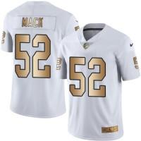 Youth Nike Oakland Raiders #52 Khalil Mack White Stitched NFL Limited Gold Rush Jersey