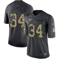 Youth Nike Tampa Bay Buccaneers #34 Charles Sims Anthracite Stitched NFL Limited 2016 Salute to Service Jersey