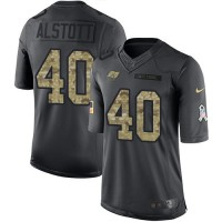 Youth Nike Tampa Bay Buccaneers #40 Mike Alstott Anthracite Stitched NFL Limited 2016 Salute to Service Jersey
